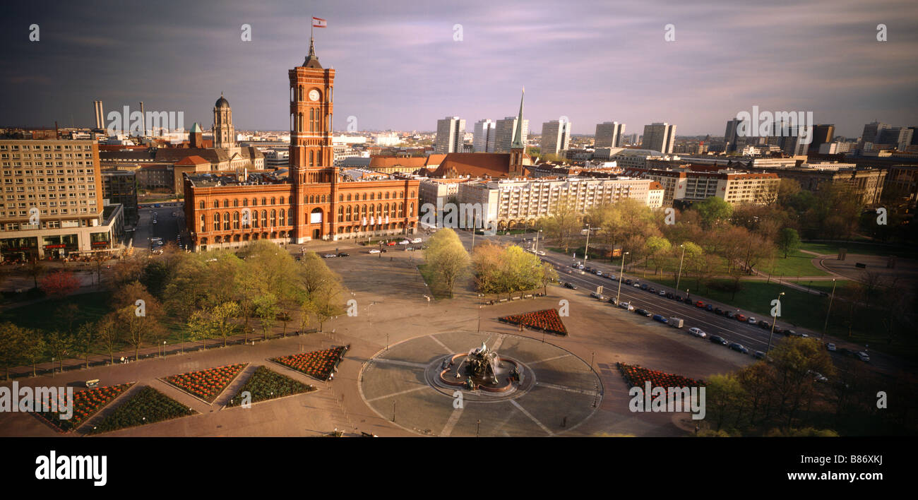 Red Town Hall Berlin Germany Capital view from top of the St. Marien church - Stock Image
