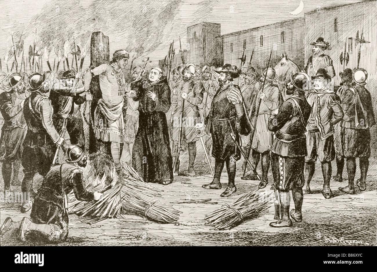 The Spaniards under Francisco Pizarro tie Atahualpa to the stake before strangling him - Stock Image