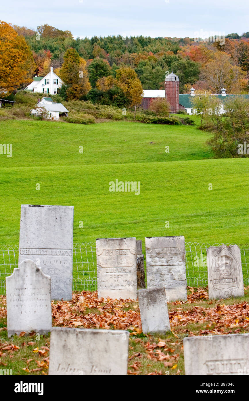Gravestones in rural Vermont USA October 8 2008 - Stock Image