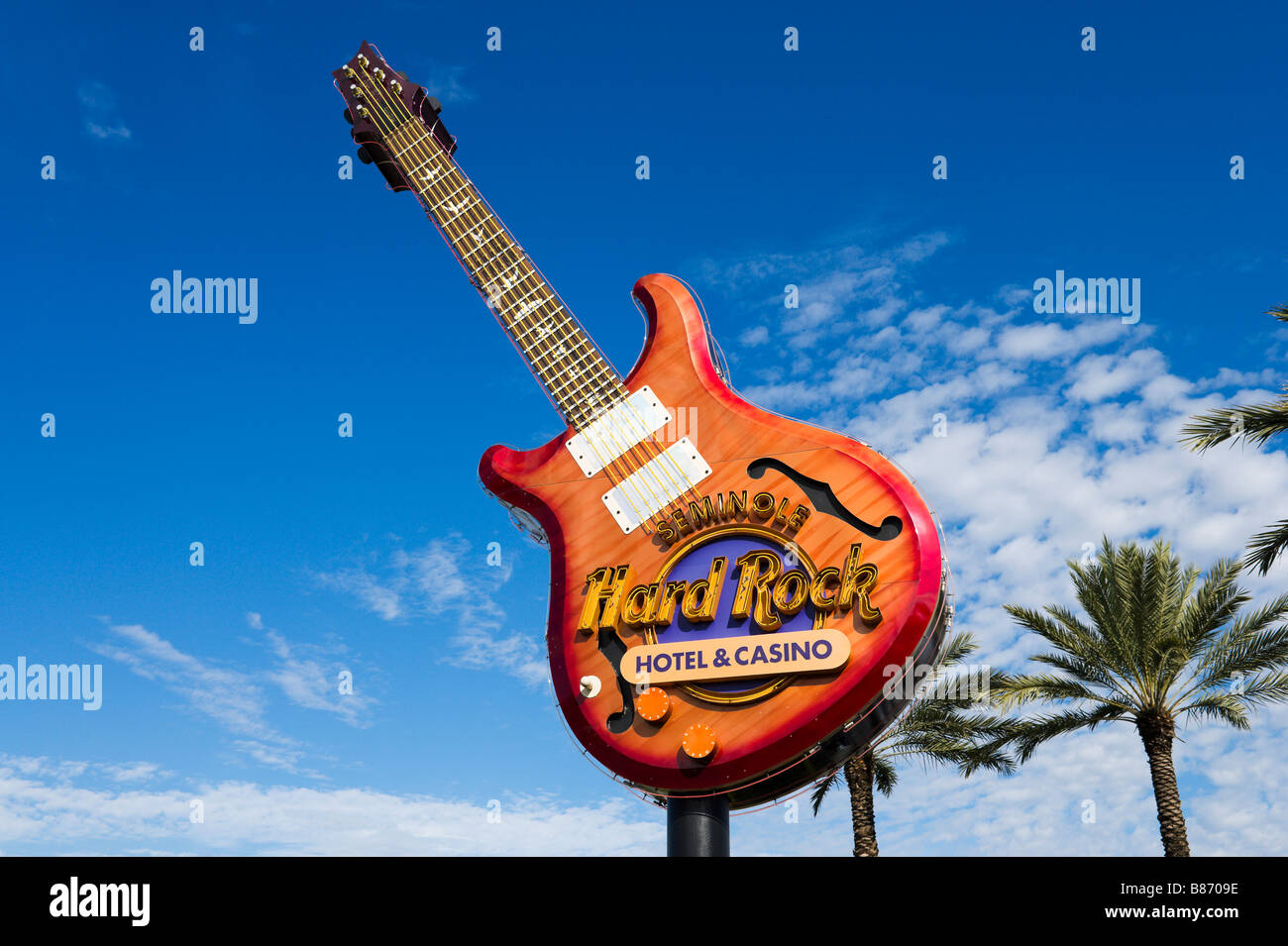 Guitar at the entrance to the Seminole Hard Rock Hotel and Casino just outside Tampa, Florida, USA - Stock Image
