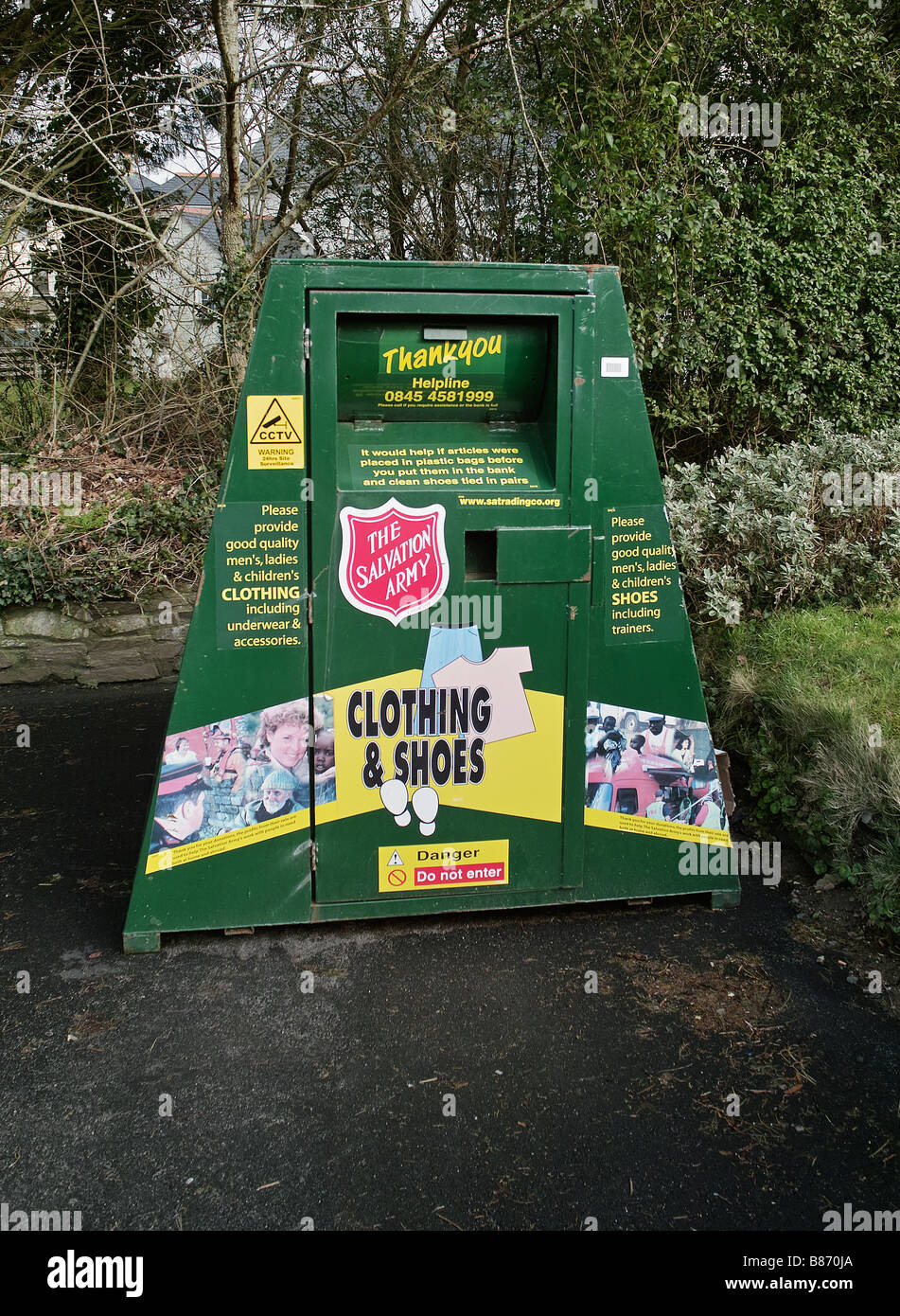 a 'salvation army' used clothing collection bin,in cornwall,uk - Stock Image