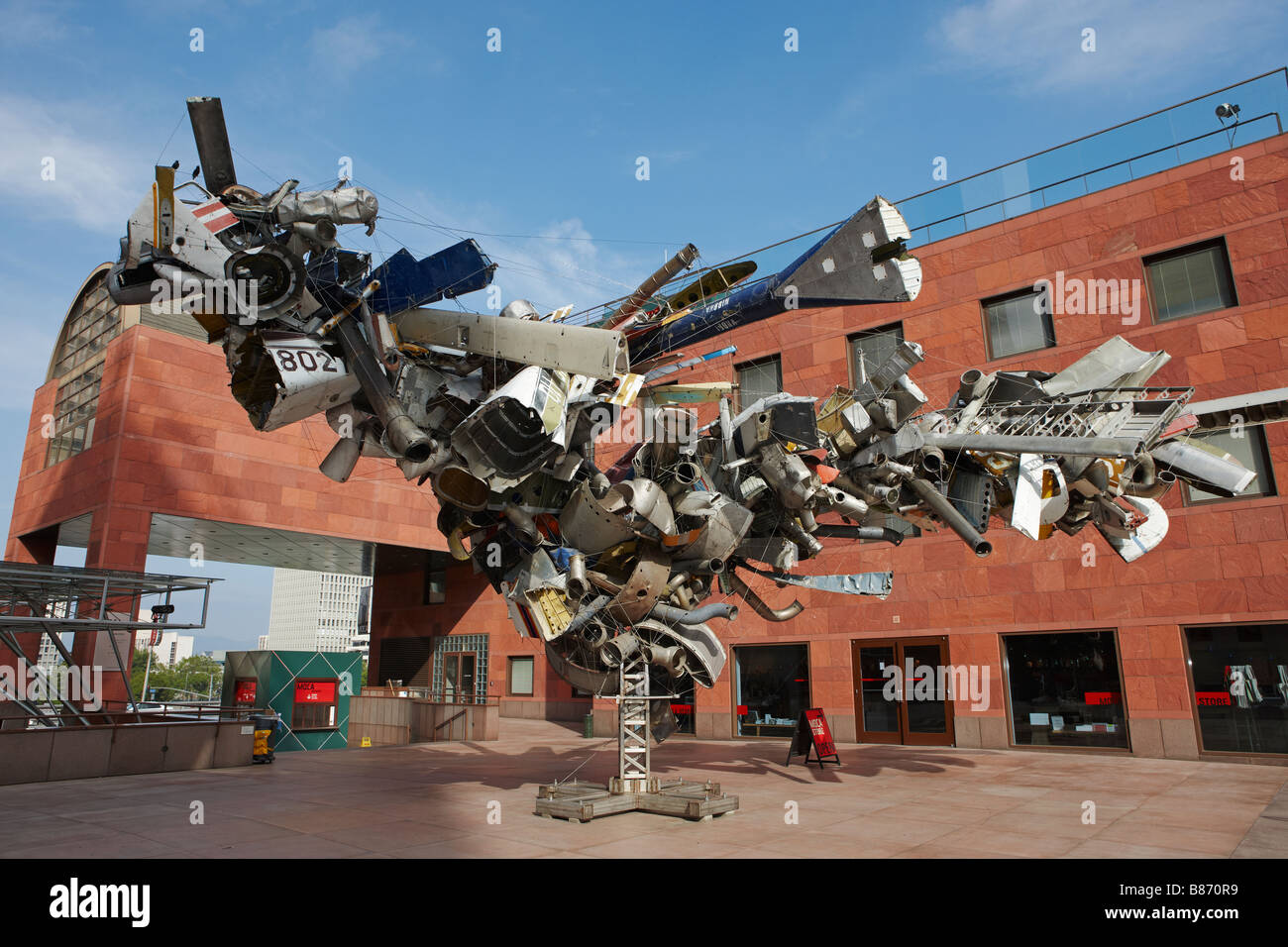 Sculpture made out of scrap airplane parts. Downtown Los Angeles, California, USA. - Stock Image