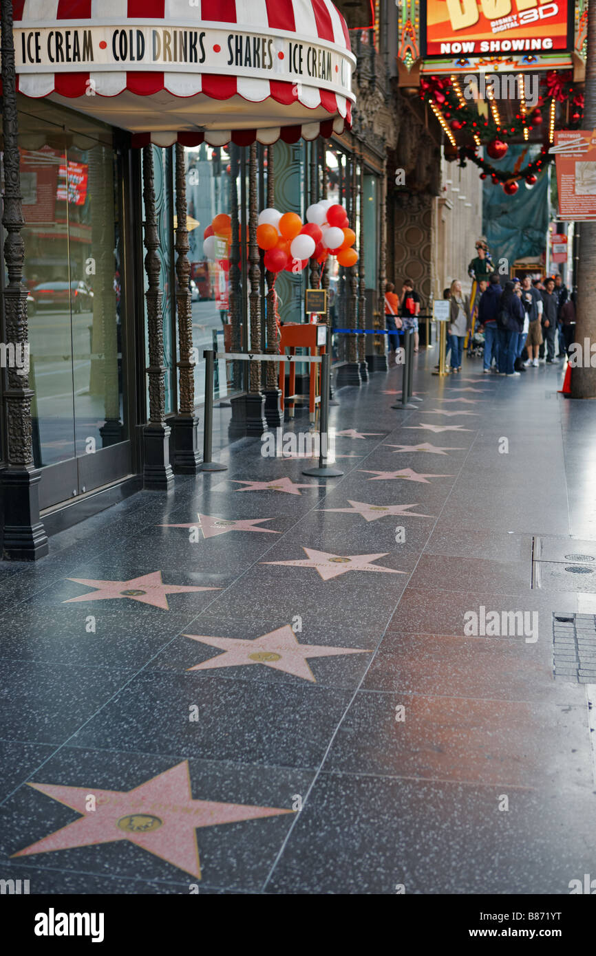 Stars embedded in the sidewalk on the Walk of Fame, Hollywood Boulevard. Hollywood, Los Angeles, California, USA. Stock Photo