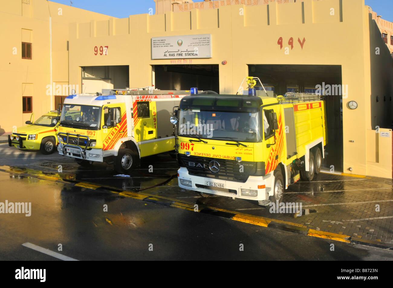 Dubai Al Ras Fire station with Civil Defence appliances