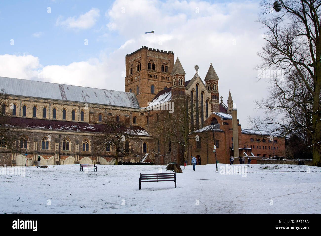 St Albans Abbey Hertfordshire Winter - Stock Image