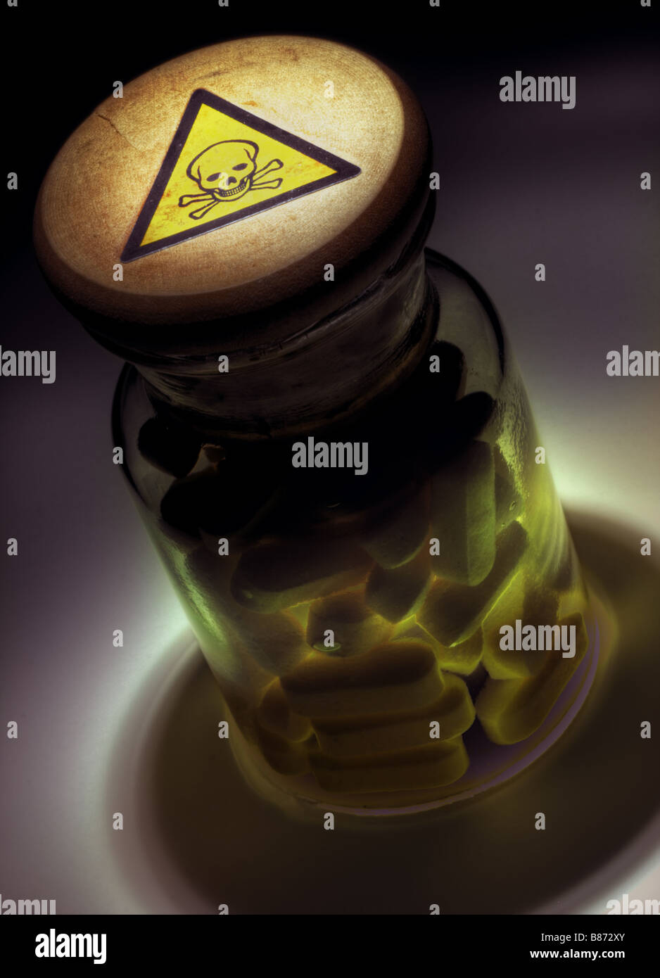 Bottle of poison pills - Stock Image