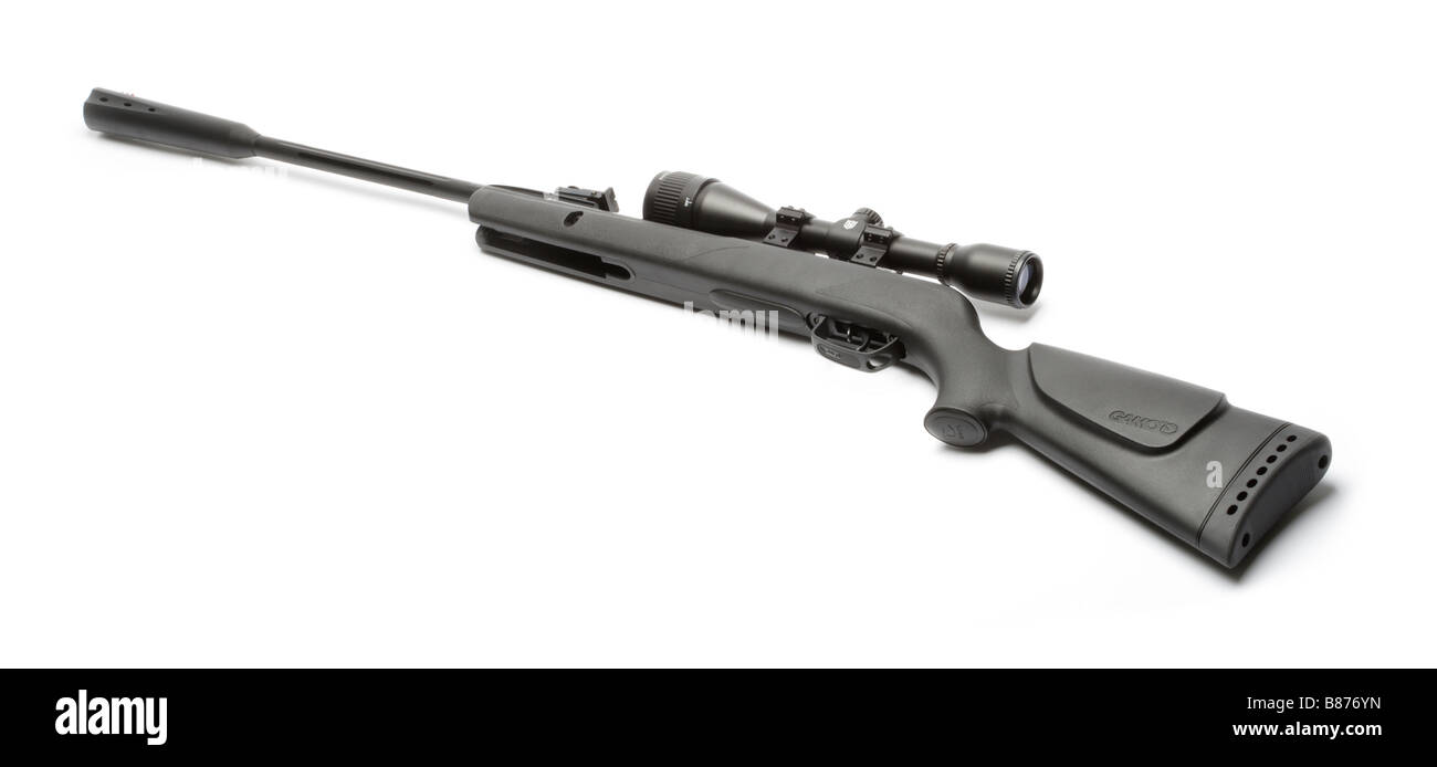 Air rifle with telescopic sight and silencer. Stock Photo