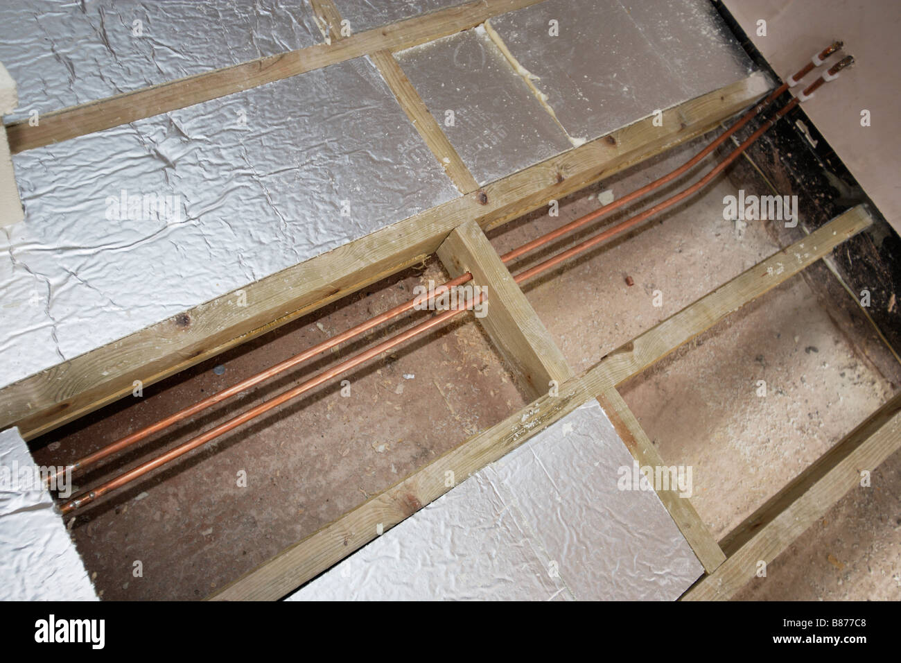 Thermal Insulation Under Floor Of Modern House Stock Photo