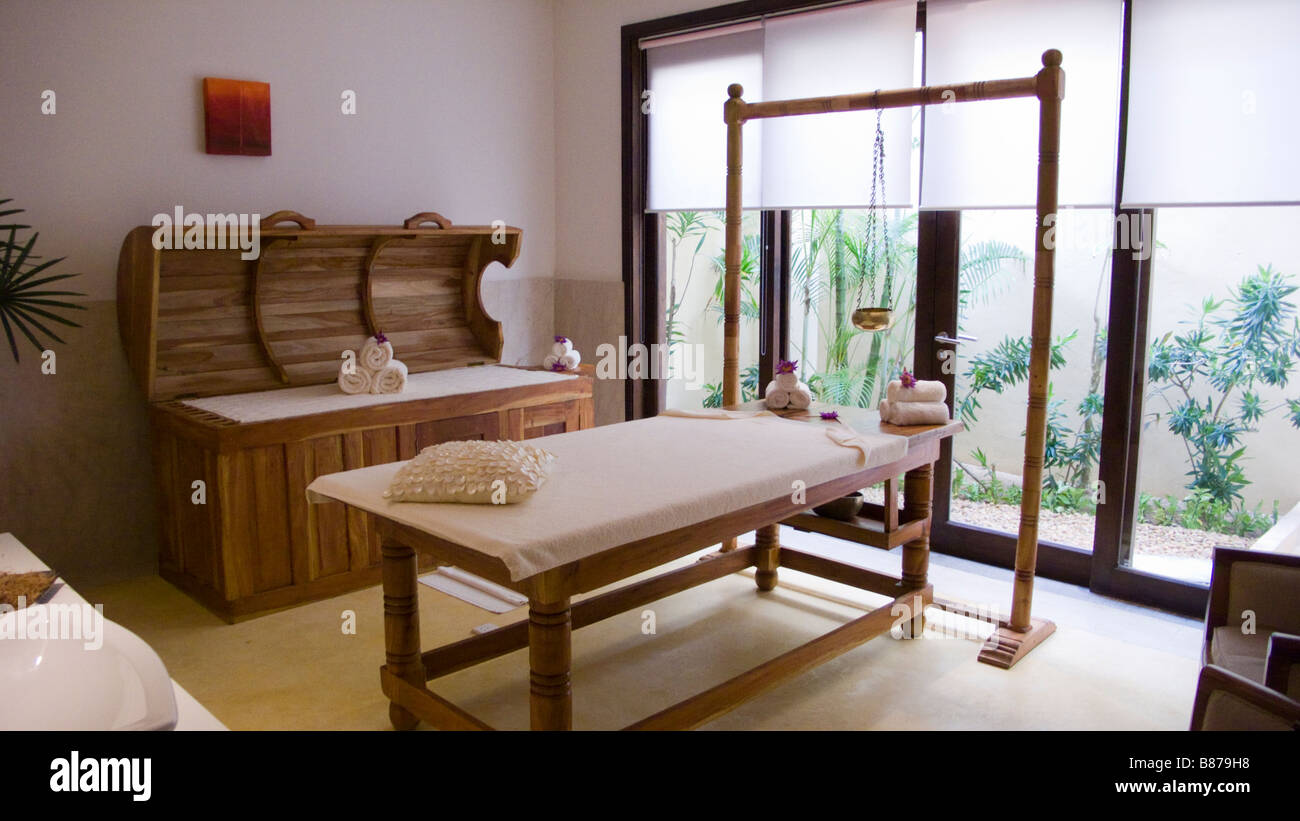 Ayurvedic treatment room Sri Lanka spa - Stock Image