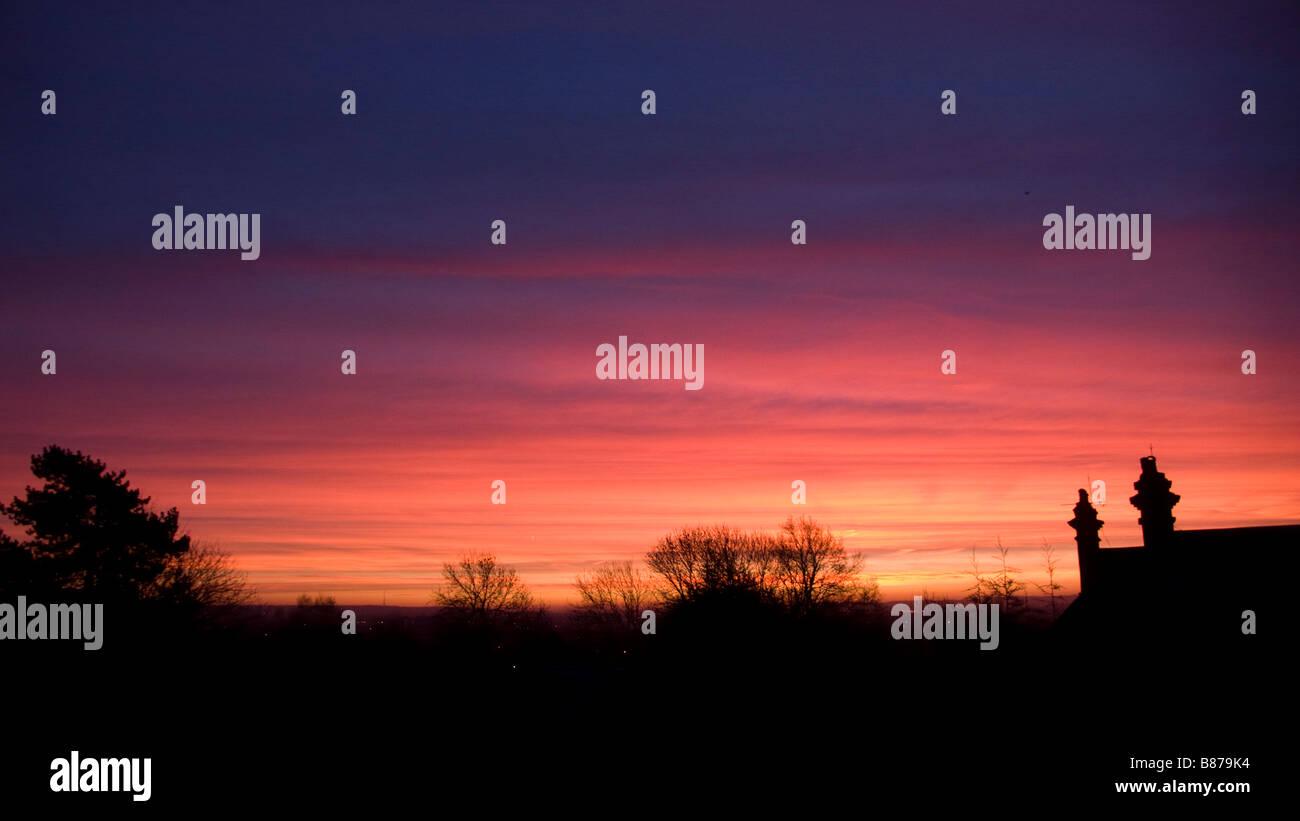 January sun rise Wimbledon London - Stock Image