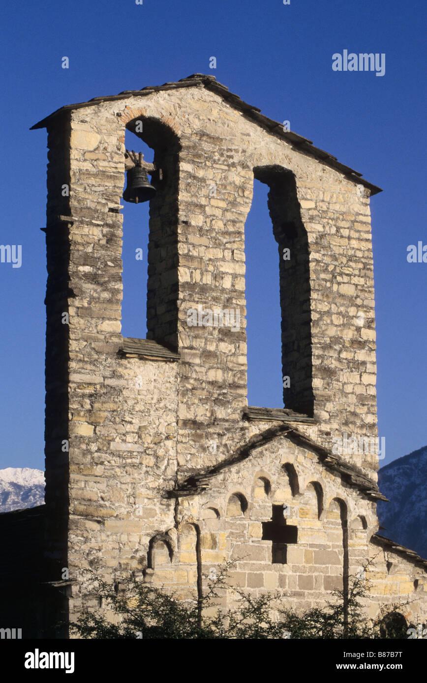 belfry of the Romanesque St Giacomo church XI century in Spurano Ossuccio Lake of Como Italy - Stock Image