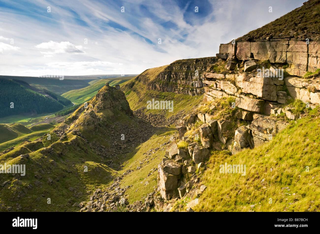 The Tower & Alport Castles, Alport Dale, Peak District National Park, Derbyshire, England, UK - Stock Image