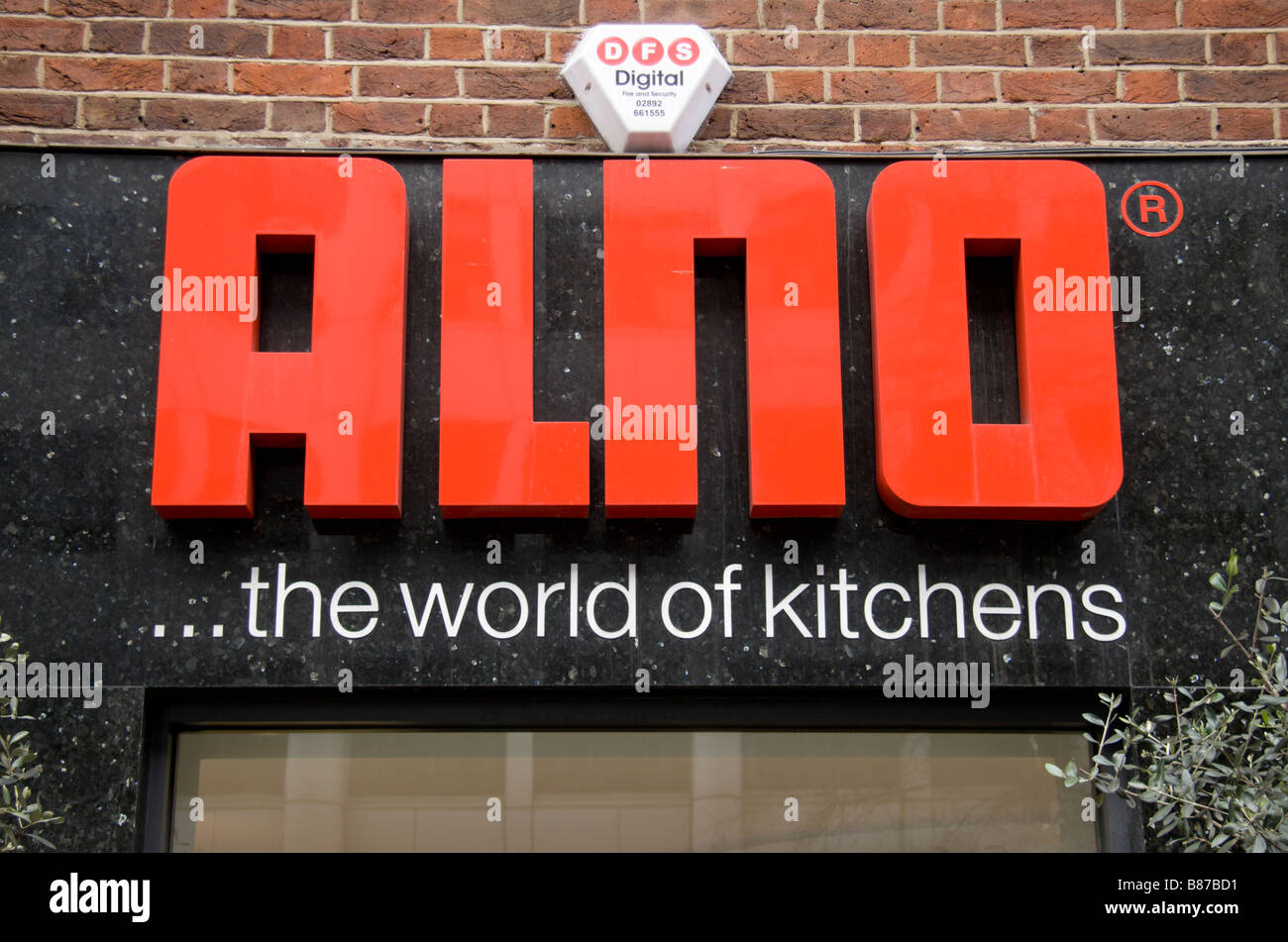 A shop sign above Alno Kitchens shop in Marylebone, London. Jan 2009 - Stock Image