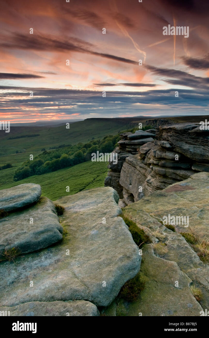 Stanage Edge at Sunset, Peak District National Park, Derbyshire, England, UK - Stock Image