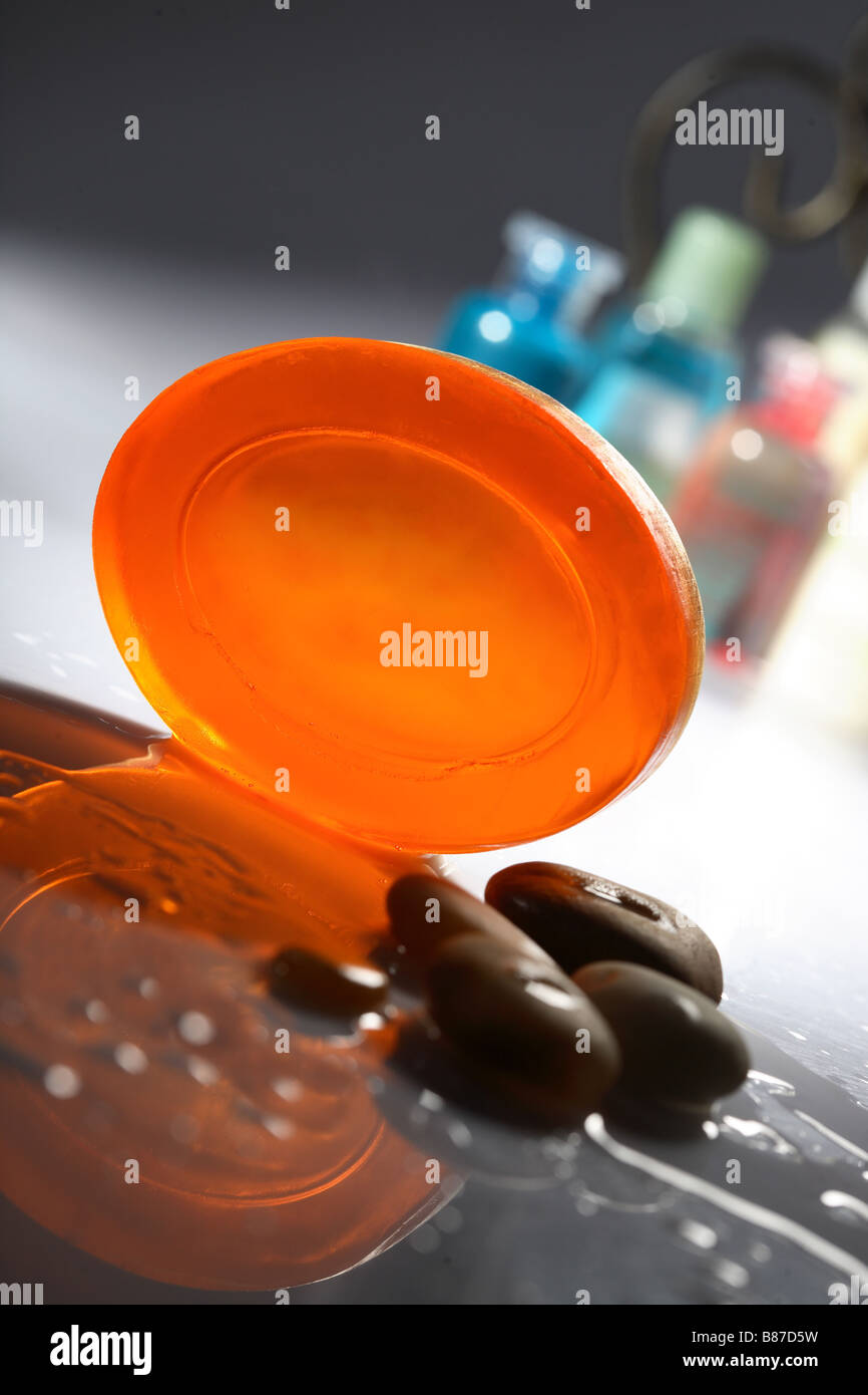 Soap and pebbles - Stock Image