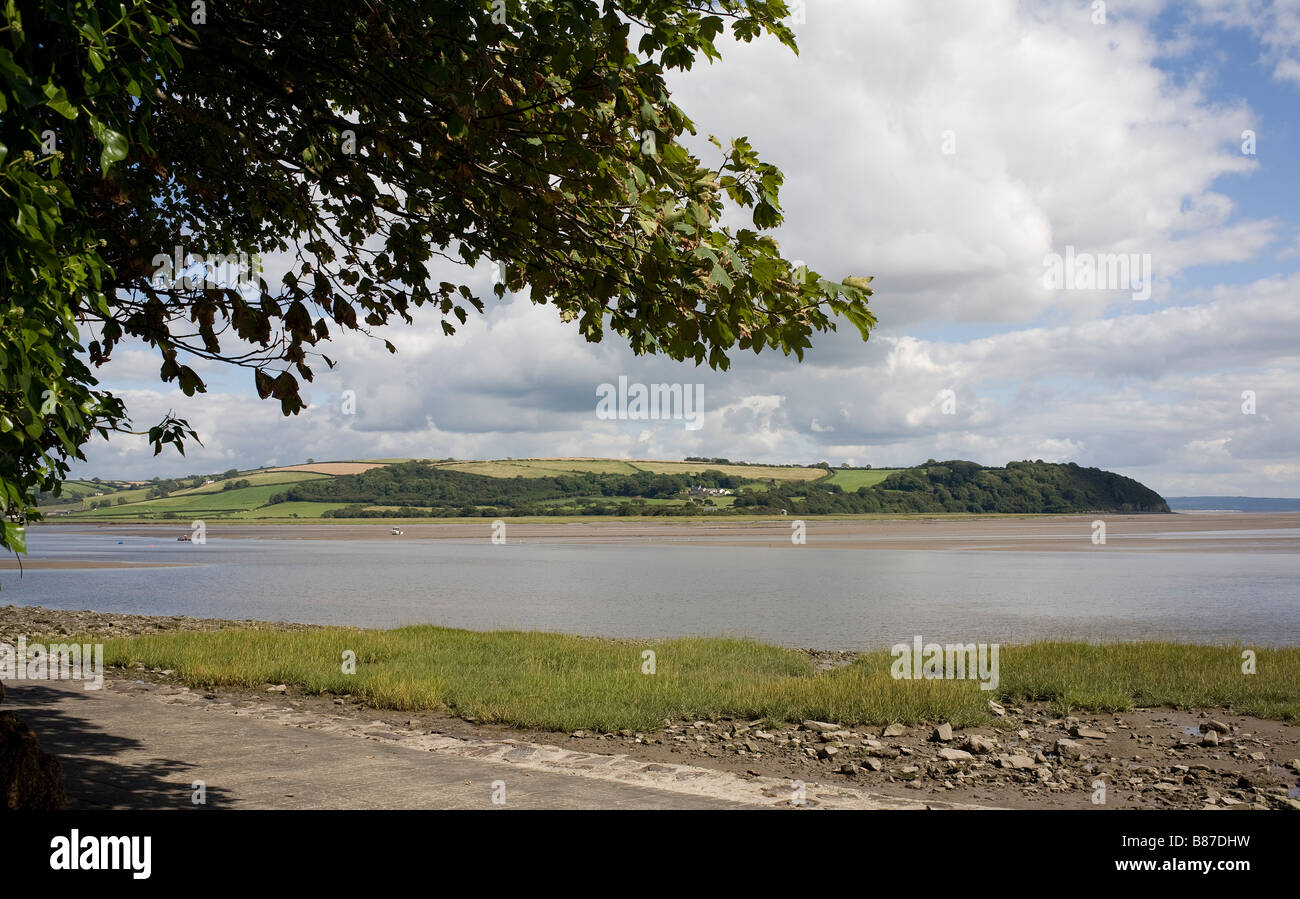 The Taf estuary Laugharne Carmarthenshire South Wales with framing ...