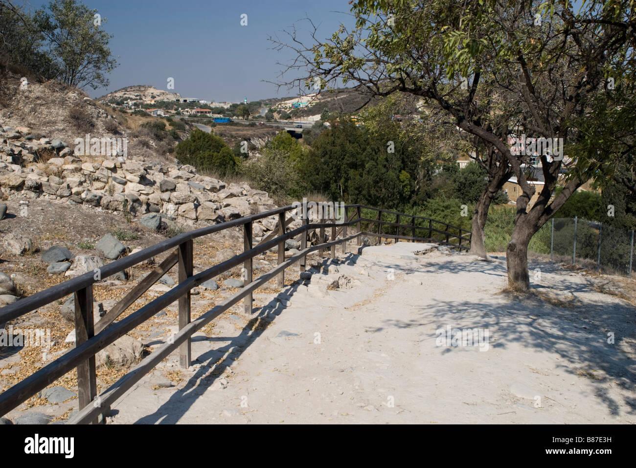 UNESCO World Heritage Site view of  Choirokoitia settlement excavation area . South Cyprus. Stock Photo