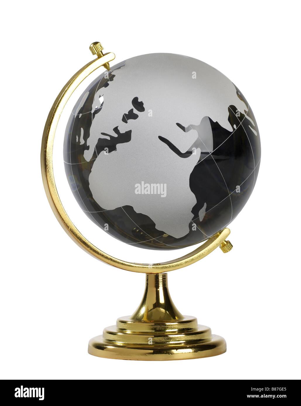 Back Glass Globe world globe - Stock Image
