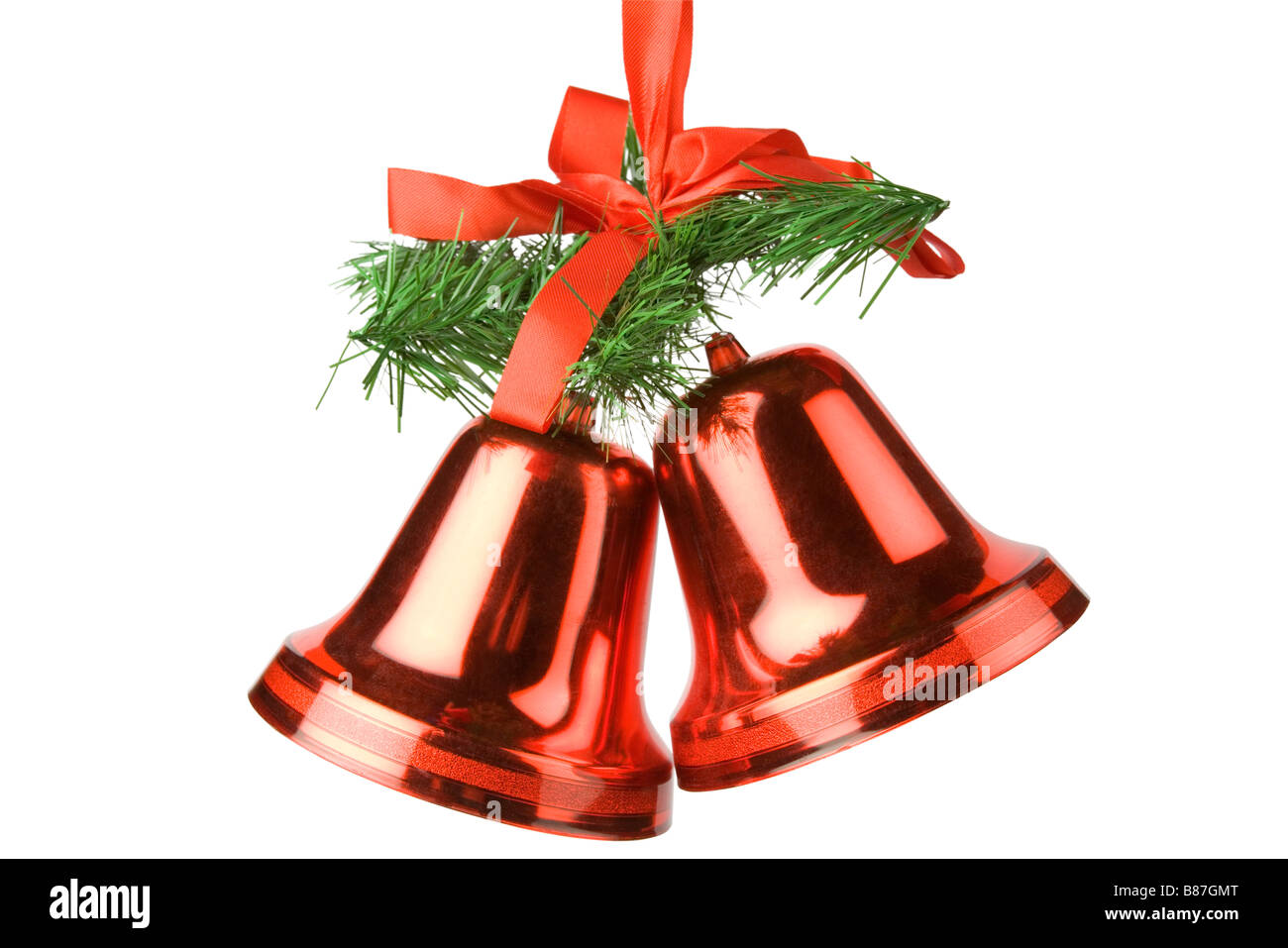 christmas bells decoration cut out over white stock image
