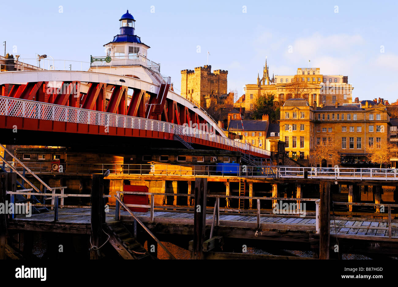 Swing Bridge and Castle Keep Newcastle-upon-Tyne  viewed from the Gateshead bank of the river Tyne - Stock Image