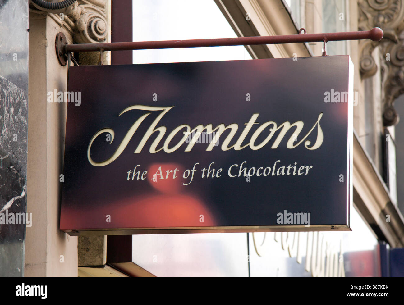 A shop sign above the Thorntons chocolate confectionery shop, Marylebone, London. Jan 2009 - Stock Image