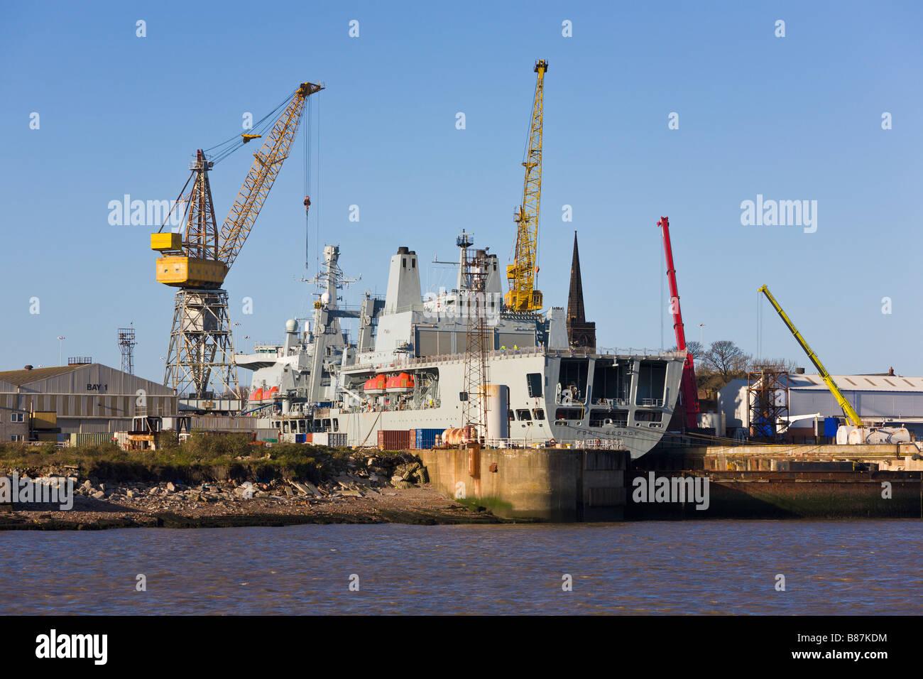 Ship repairs, Camel Lairds ship yard, River Mersey, Birkenhead, Merseyside, England - Stock Image