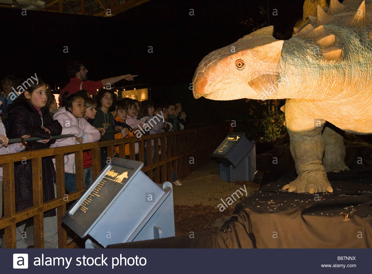 europe,italy,lombardia,cremona,exhibition of reproduction of dinosaurs,anchilosaur - Stock Image