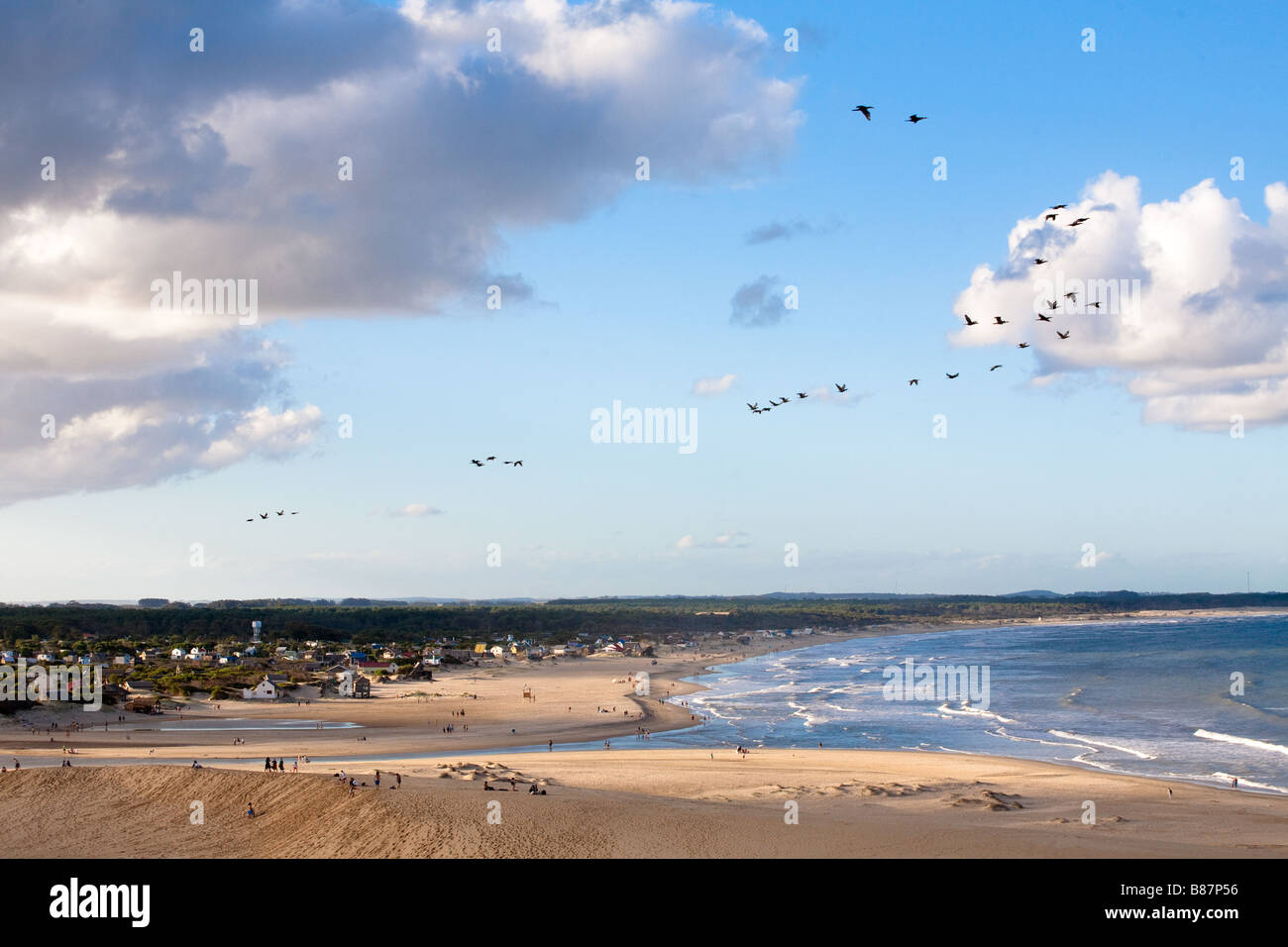 View of Valizas town, beach and stream form the height of the dunes - Stock Image