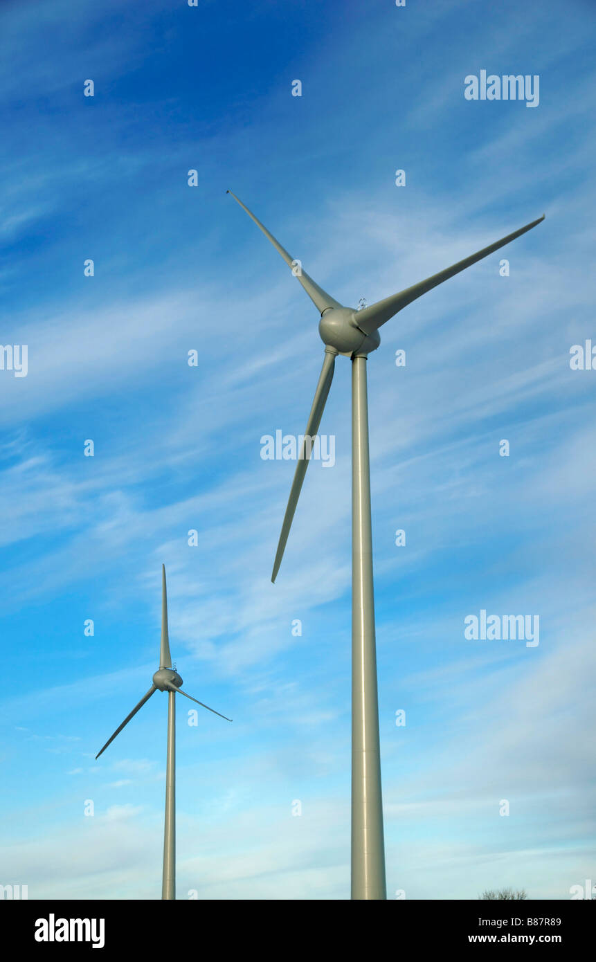 Wind turbines and blades close up - Stock Image