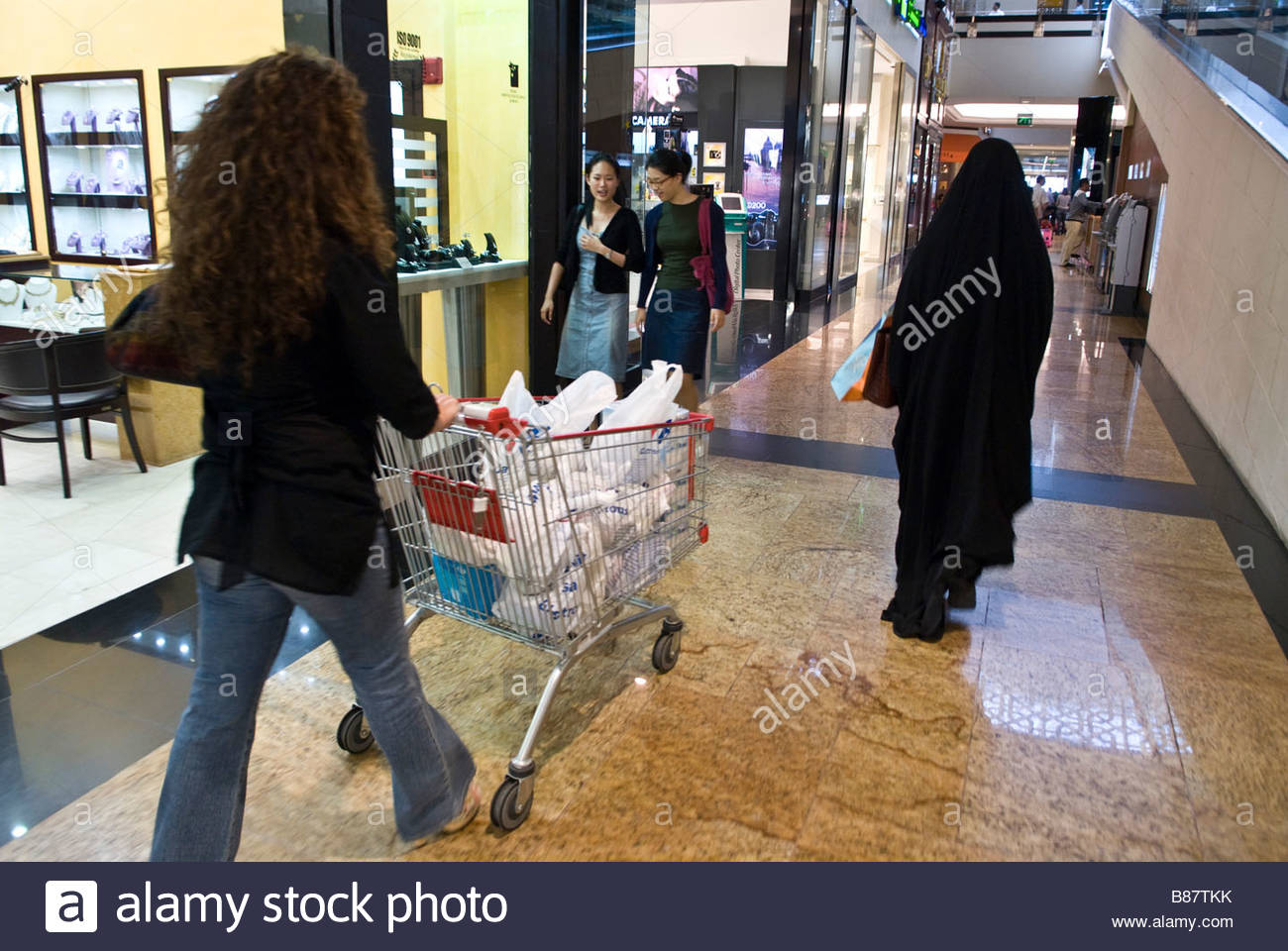 dubai People shopping in Carrefur inside the mall of the emirates - Stock Image