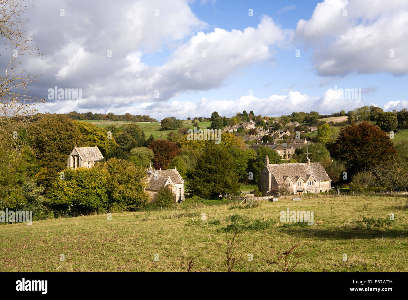The Cotswold village of North Cerney in the Churn Valley, Gloucestershire Stock Photo