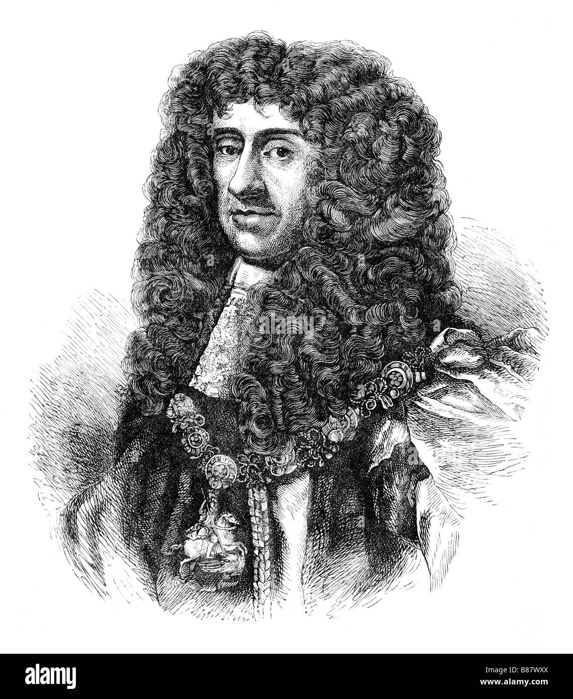 King Charles II Portrait - Stock Image