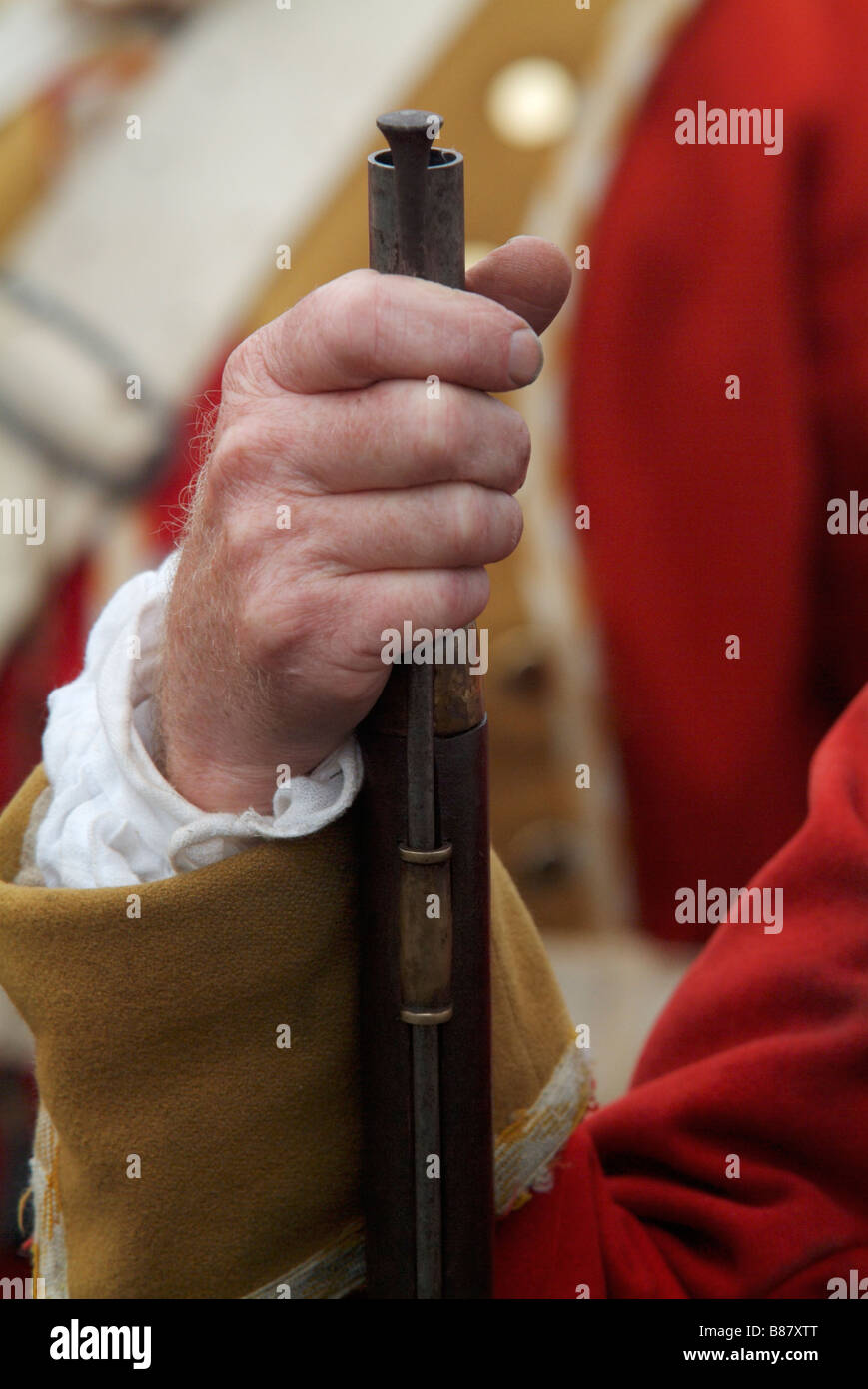 Close-up of the hand and firelock of a Grenadier at the 2008 re-enactment of the Battle of Prestonpans Stock Photo