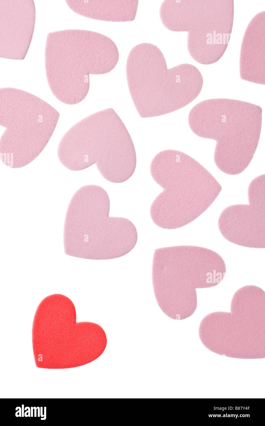 Valentine s Day Foam Hearts Isolated on White Background - Stock Image