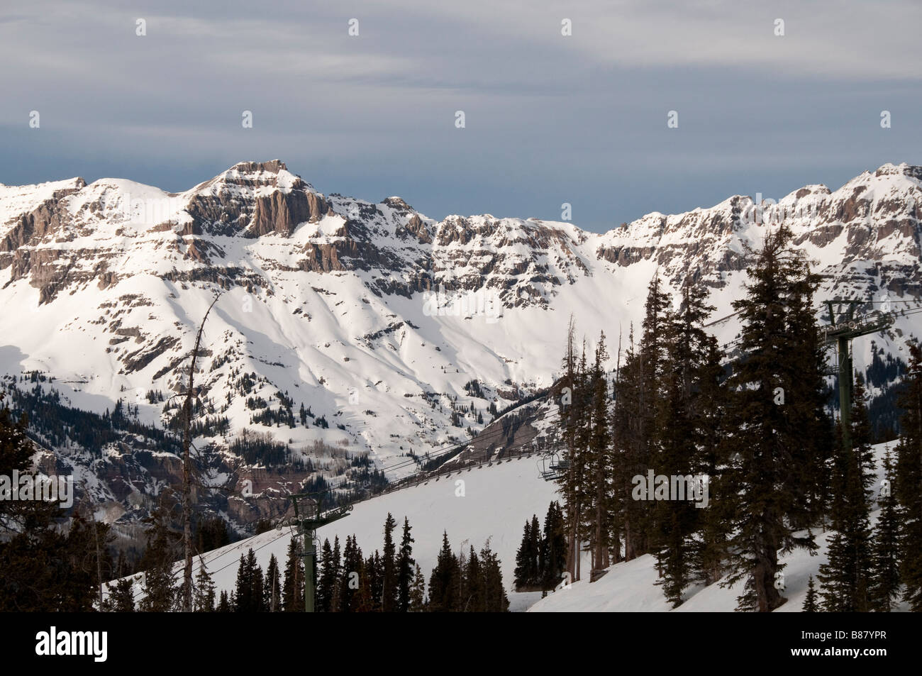 cliffs and mountains as seen from tempter house, telluride ski stock