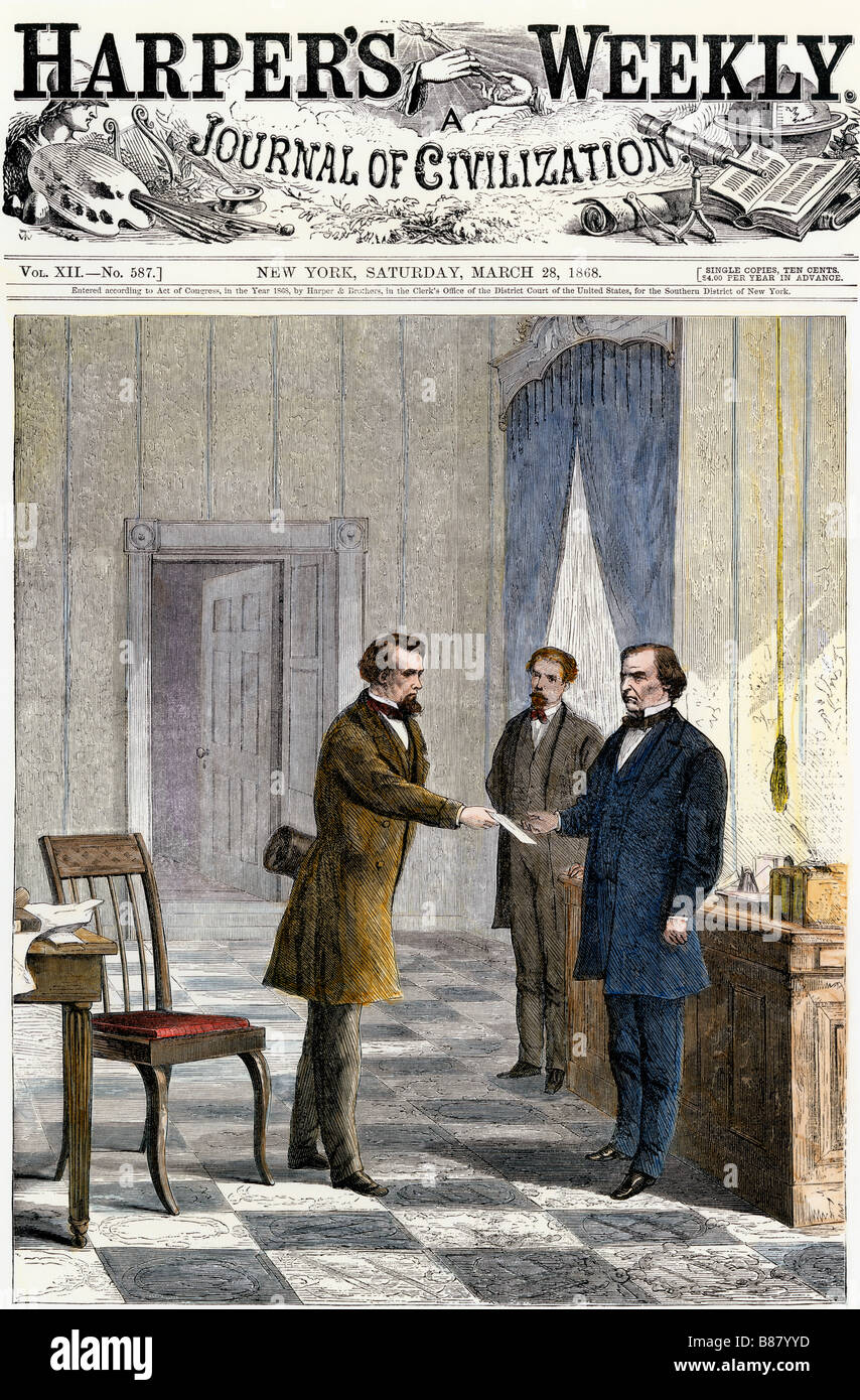 Senate Sergeant-at-Arms serving the impeachment summons on President Andrew Johnson 1868. Hand-colored woodcut - Stock Image