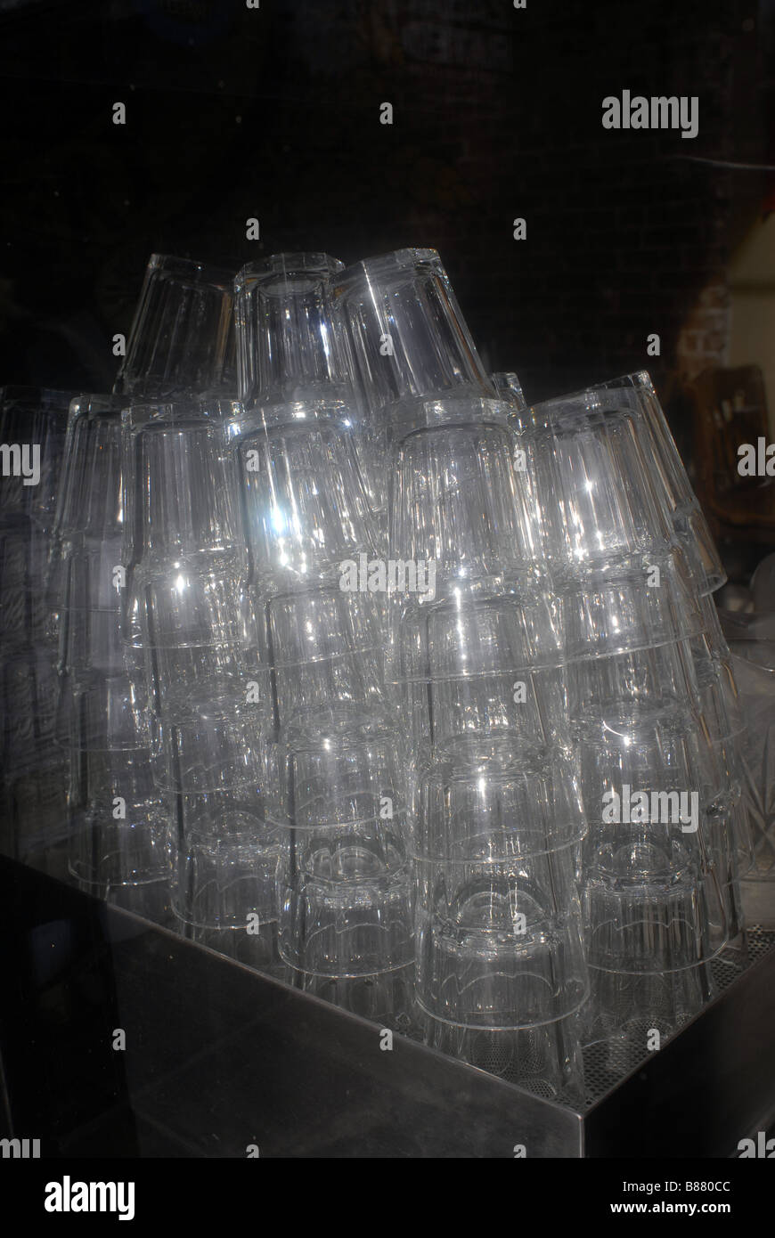 Water glasses stacked in a restaurant in New York waiting for service on Sunday January 5 2009 Richard B Levine - Stock Image