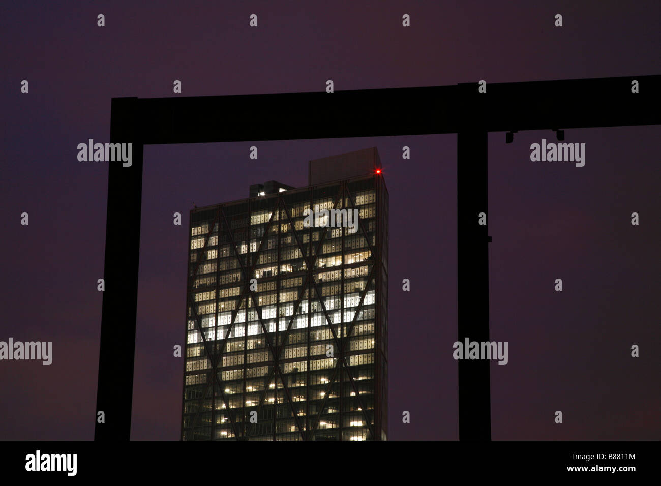 View from a Shoreditch rooftop of Broadgate Tower, City of London - Stock Image