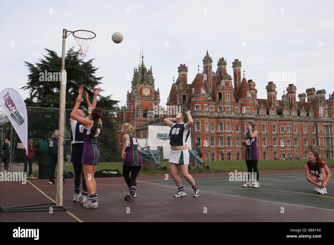A shot in a netball match in front of the Founder's Building Royal Holloway University of London Egham Surrey - Stock Image