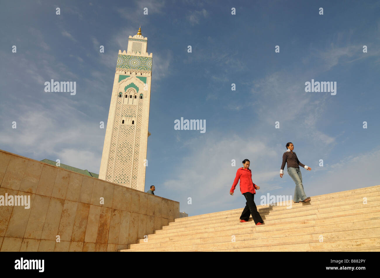 The minaret of the Mosque Hassan II in Casablanca Africa Morocco - Stock Image
