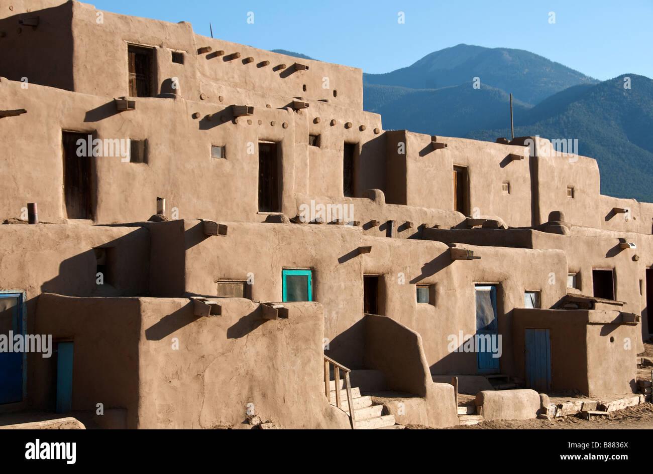 Inhabited adobe houses Taos Pueblo New Mexico USA - Stock Image