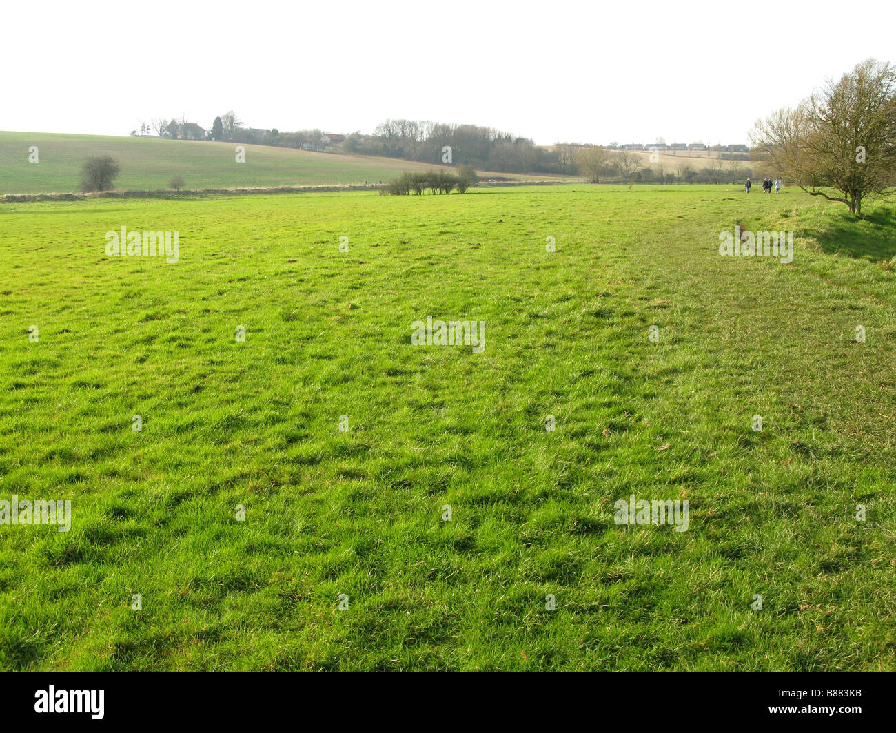Walkers on path, near Burford , Oxfordshire, Cotswolds, England, UK - Stock Image
