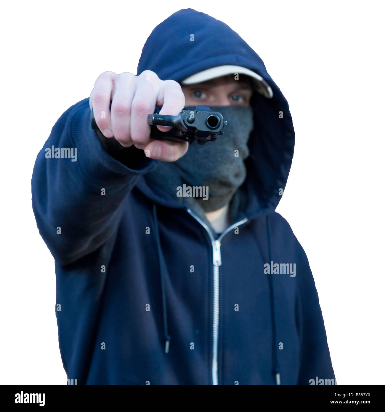 Gang Gun Crime - Hooded Masked Teenager Proudly Shows Off His Beretta 92 Pistol - Stock Image