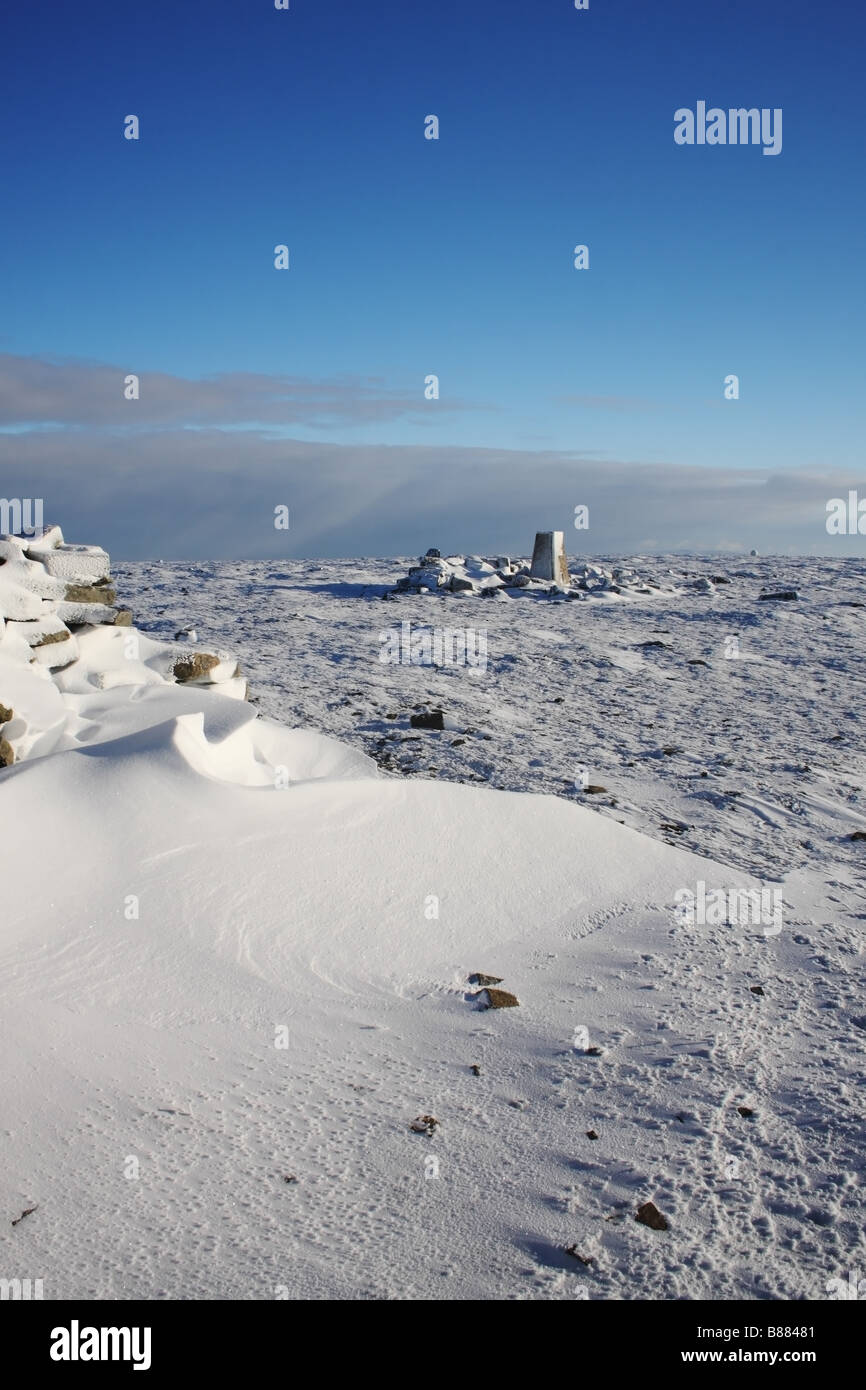 The Summit Trig Point of Crossfell in Winter North Pennines United Kingdom - Stock Image