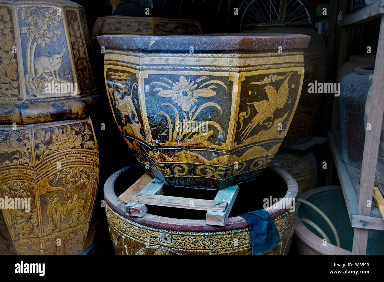 Malacca MalaysiaChinatown China Chinese earthenware crockery pottery antique shop - Stock Image