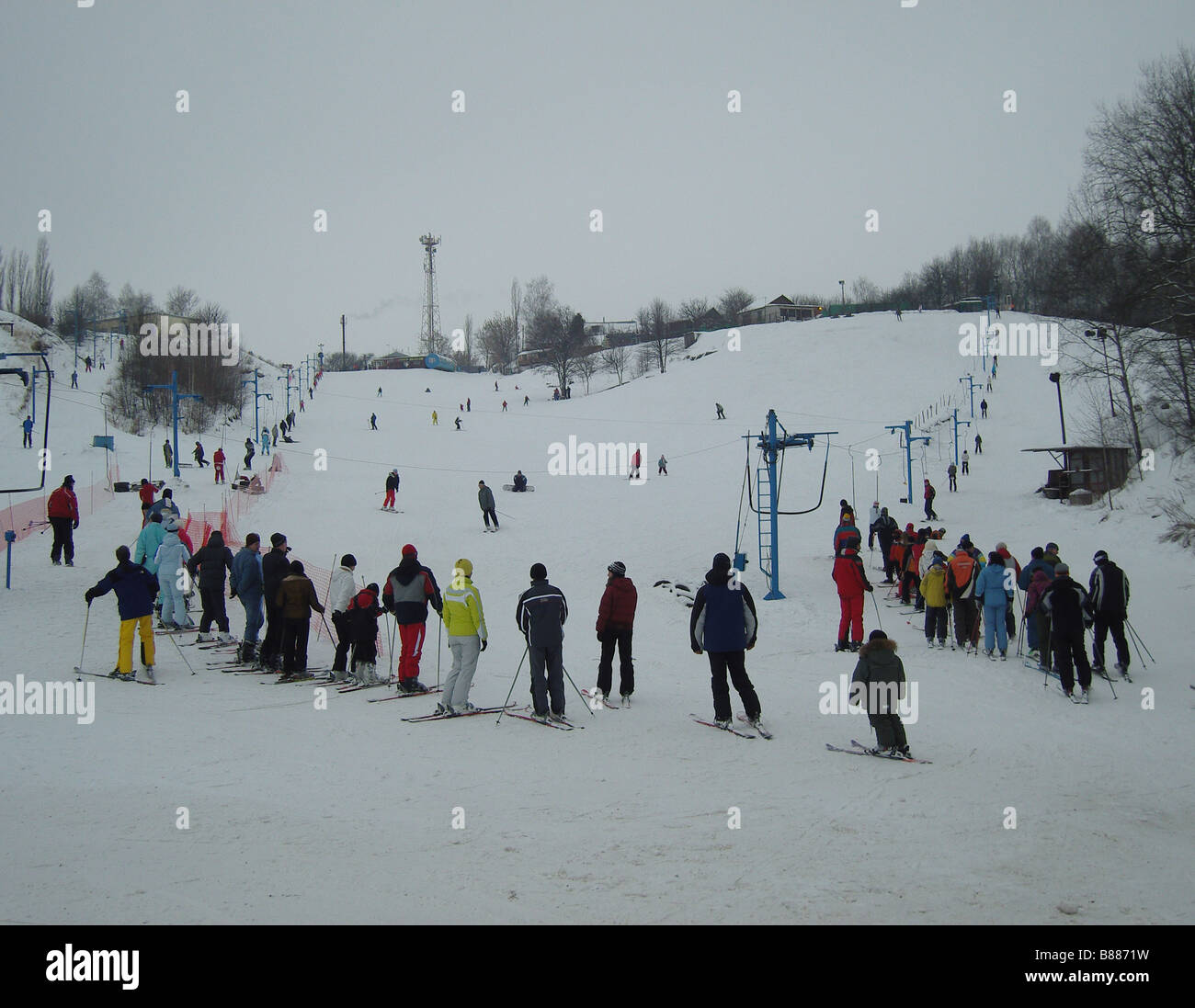 Ski Riders at the Valley, downhill skiing - Stock Image
