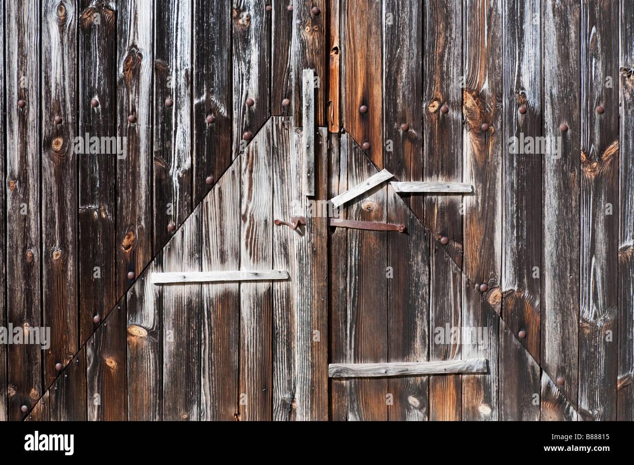 Repaired Weathered Oak Barn Doors Sud Touraine France Stock Photo