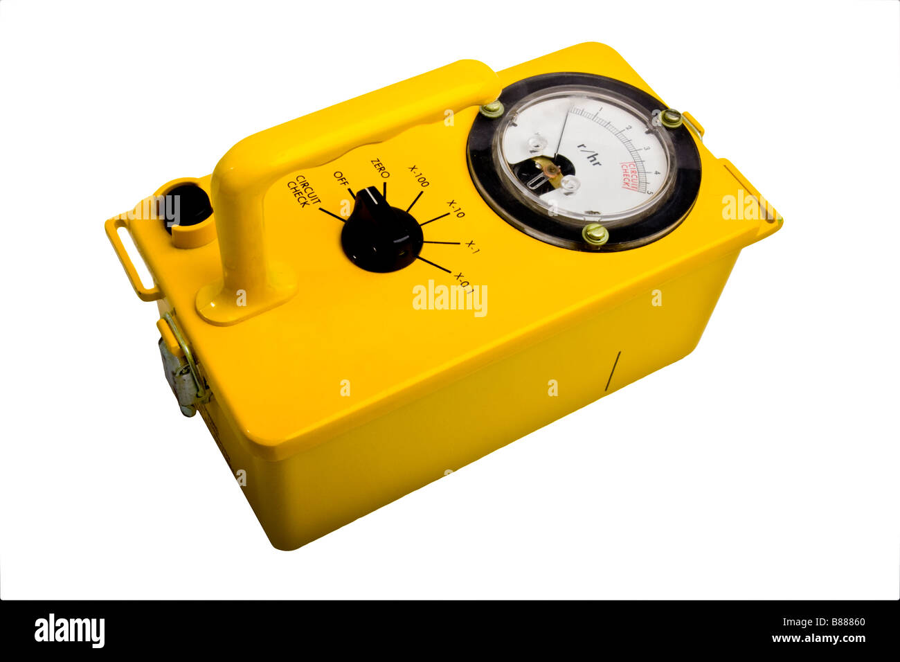 Yellow Classic Geiger Counter Isolated On White Stock Photo Circuit