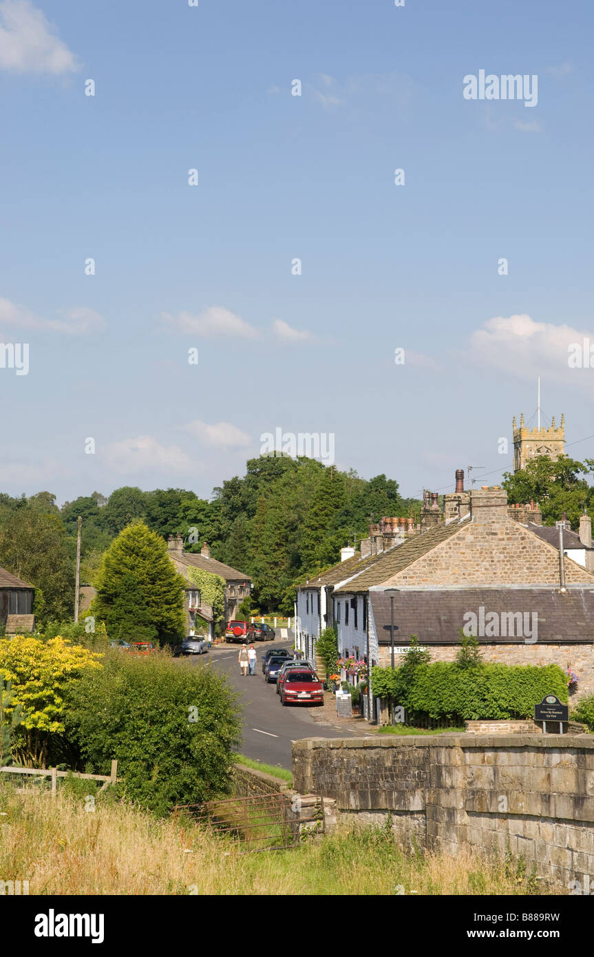 Main street of Bolton by Bowland in the Ribble Valley Lancashire in North West England - Stock Image