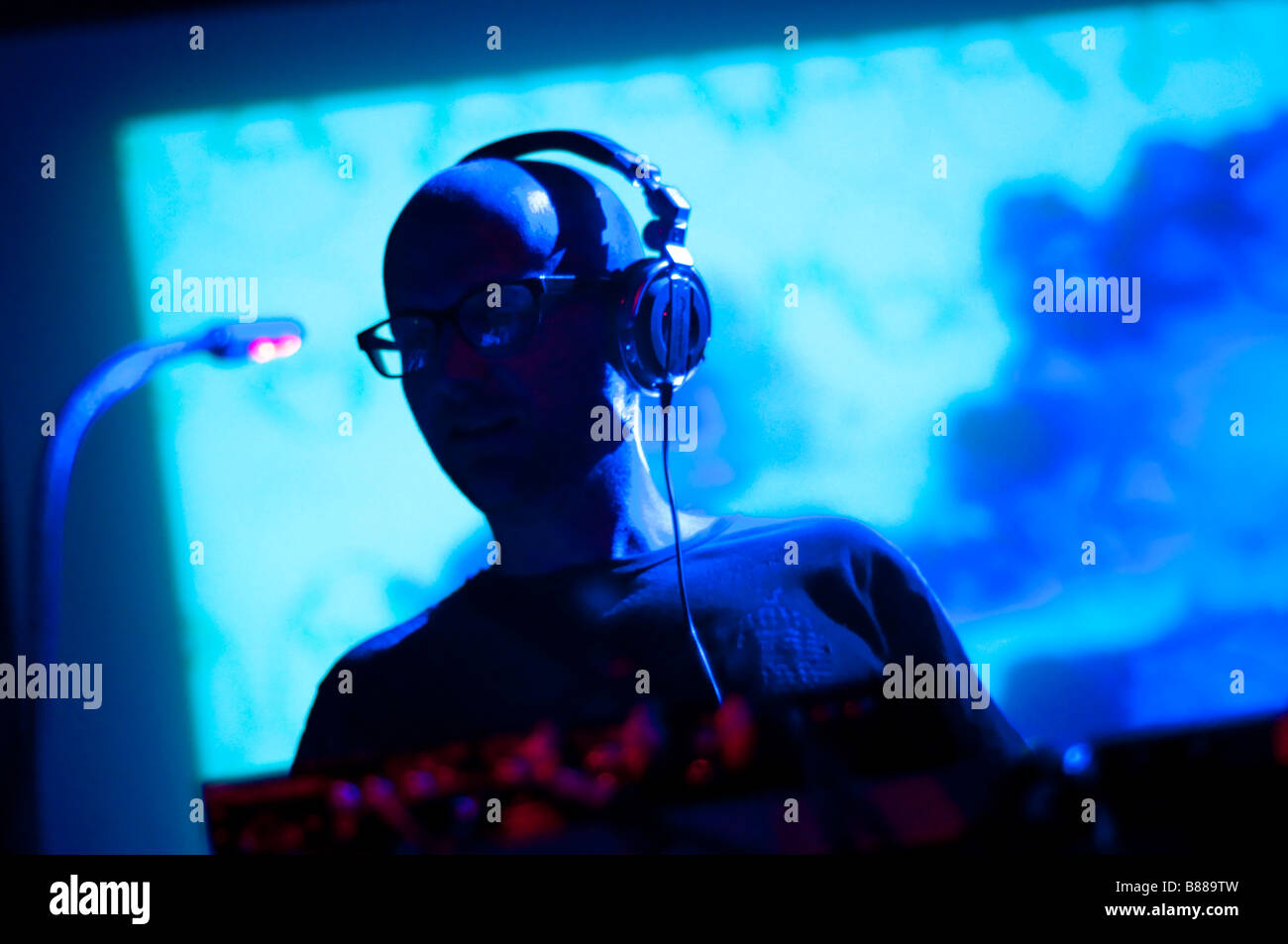Moby (Richard Melville Hall) spins a DJ set at the 9 30 Club in Washington DC. - Stock Image